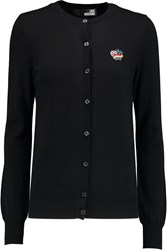 Love Moschino Embroidered Knitted Cardigan Black