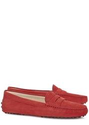 Tod's Gommino Red Suede Driving Shoes