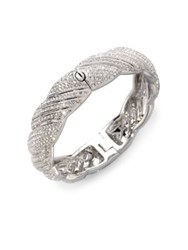 Adriana Orsini Pave Twist Bangle Bracelet Silver