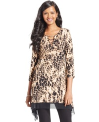 Cable And Gauge Printed Mesh Trim Keyhole Tunic Cheetah