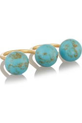 Noir Gold Plated Turquoise Two Finger Ring Blue