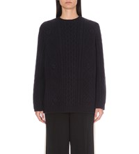 Red Valentino Chunky Wool Knitted Jumper Blu