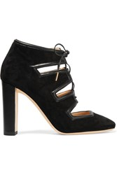 Jimmy Choo Latch Leather Trimmed Suede Pumps Black