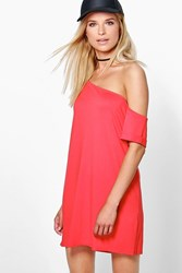 Boohoo Off The Shoulder Slouchy Dress Poppy
