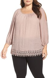 Bobeau Plus Size Women's Cold Shoulder Lace Trim Top Taupe