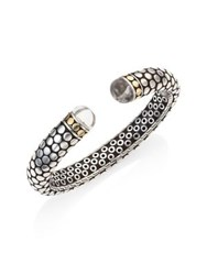 John Hardy Batu Dot Rock Crystal Sterling Silver And 18K Gold Small Kick Cuff Bracelet Silver Black