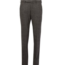 Ermenegildo Zegna Grey Slim Fit Checked Stretch Wool Trousers Gray