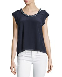 Rebecca Taylor Crystal Trim Cap Sleeve Blouse Navy