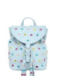 Red Valentino Multicolor Eyelets On Leather Backpack Light Blue