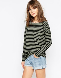 The Furies Noh Long Sleeve Striped Pocket T Shirt Greentea