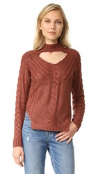 Somedays Lovin Texan Cable Knit Sweater Burnt Rose
