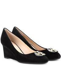 Tory Burch Luna Suede Wedge Ballerinas Black