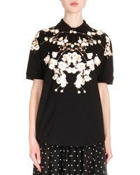 Givenchy Short Sleeve Floral Print Polo Shirt Black Women's
