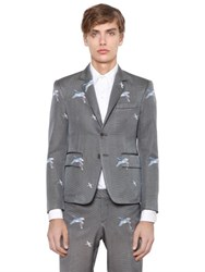 Thom Browne Birds Embroidered Silk Ottoman Jacket