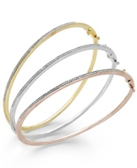 Macy's Diamond Bangle Bracelet Trio In 14K Gold Over Sterling Silver And Sterling Silver 1 4 Ct. T.W. No Color