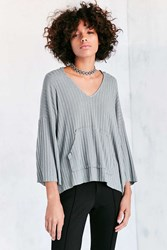 Bdg Anna Ribbed Knit Hoodie Sweater Slate