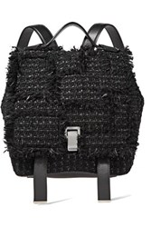 Proenza Schouler Ps Fringe Trimmed Tweed And Leather Backpack Black