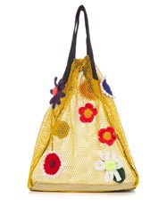 Christopher Kane Crochet Flower Net Tote Yellow Multi