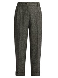 Dolce And Gabbana High Waisted Herringbone Tweed Cropped Trousers Grey