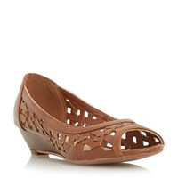 Head Over Heels Kosimo Laser Cut Out Wedge Sandals Tan