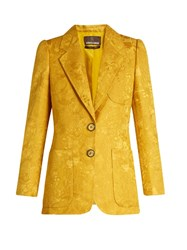 Roberto Cavalli Wool And Silk Blend Brocade Jacket Yellow