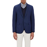Boglioli Men's Micro Geometric Pattern Two Button Sportcoat Blue