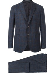 Eleventy Checked Suit Blue