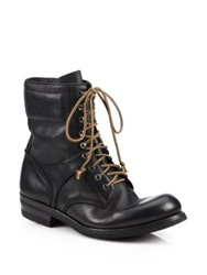 Ralph Lauren Gavin Distressed Leather Lace Up Boots Black
