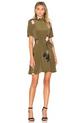 Ganni Donaldson Silk Mini Dress Olive
