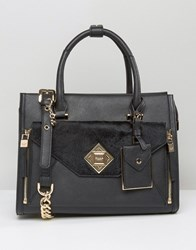 Dune Tote Bag With Faux Pony Front Pocket Detail Black