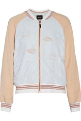 Raoul Embroidered Stretch Crepe And Tulle Bomber Jacket Nude
