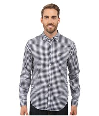Lacoste Cotton Voile Check Print Shirt White Navy Blue Men's Clothing
