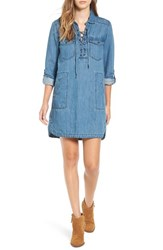 Blank Nyc Women's Blanknyc 'Freak Out' Lace Up Chambray Shirtdress