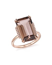 Bloomingdale's Smoky Quartz And Diamond Ring In 14K Rose Gold Rose Gld