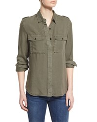 Frame Denim Le Military Long Sleeve Shirt Military Green Size Large