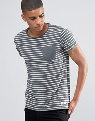Esprit Roll Sleeve Stripe T Shirt With Contrast Pocket Navy
