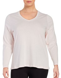 Lord And Taylor Plus Cotton V Neck Tee Pink