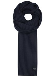 Armani Jeans Navy Ribbed Wool Scarf