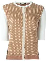 Agnona Half Sleeve Cardigan Brown