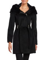 Calvin Klein Faux Fur Lined Asymmetric Coat Black