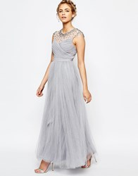 Little Mistress Tulle Maxi Dress With Diamante Trim Grey