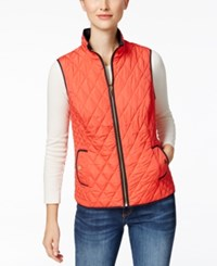 Charter Club Petite Reversible Quilted Vest Only At Macy's New Coral