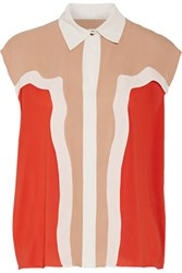 Lanvin Color Block Stretch Silk Blouse Tomato Red