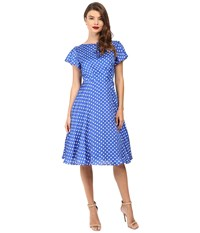 Unique Vintage 1940S Style Formosa Swing Dress Royal Blue Dot Women's Dress