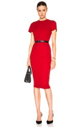 Victoria Beckham Double Crepe T Shirt Fitted Dress In Red