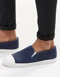 Asos Slip On Plimsolls In Navy Cord With Toe Cap Navy