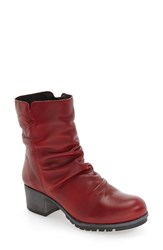 Bos. And Co. Women's 'Madrid' Waterproof Slouchy Bootie Red Miami Leather