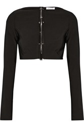 Thierry Mugler Cropped Embellished Cutout Stretch Cady Top Black