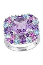 Sterling Silver Diamond Amethyst Created Pink Sapphire Blue Topaz And Sky Blue Topaz Swiss Ring Multi