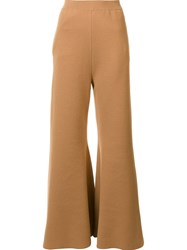 Stella Mccartney Wide Leg Flared Trousers Nude And Neutrals